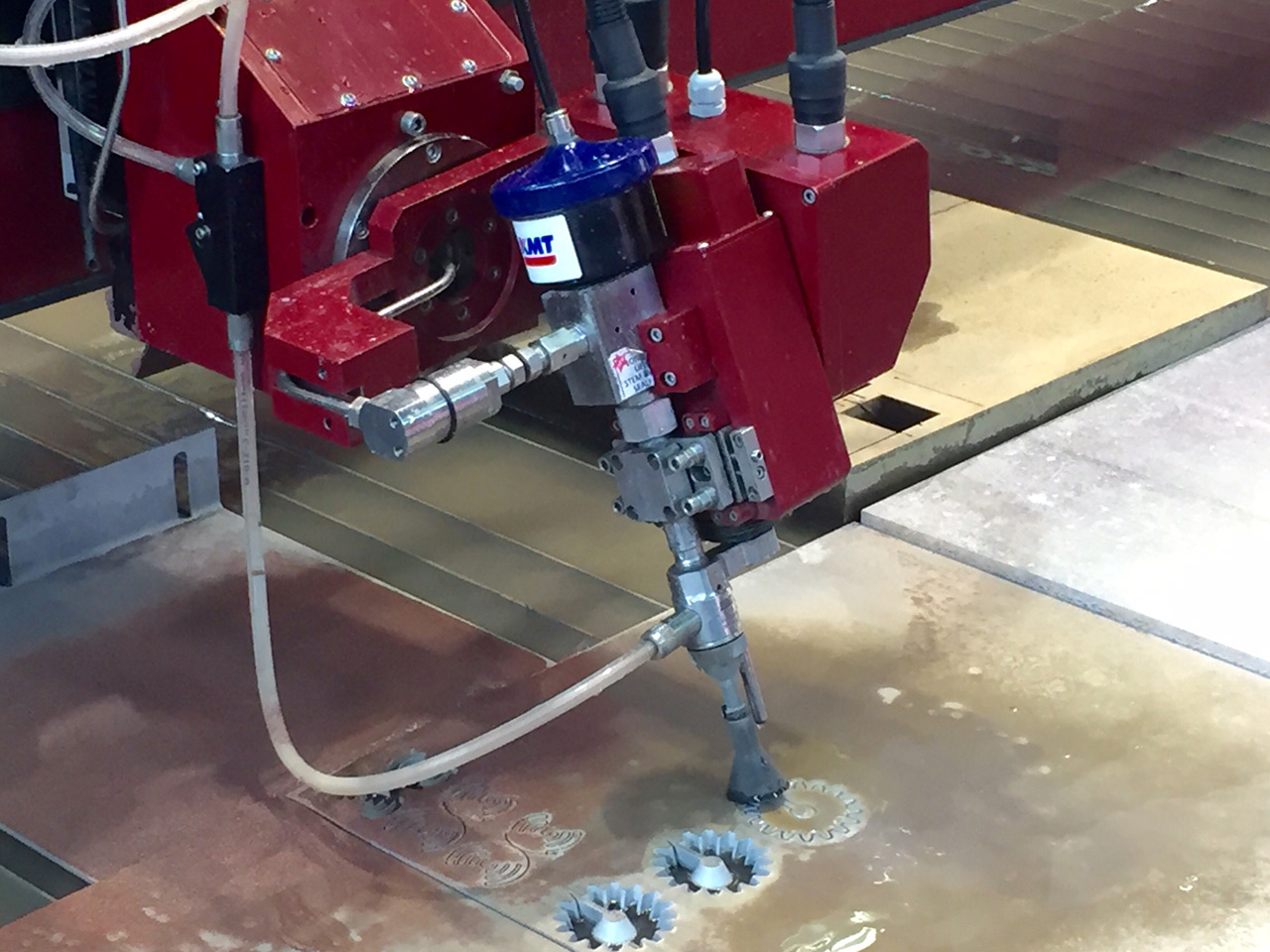 Waterjet 5-Axis Cutting Head in Action