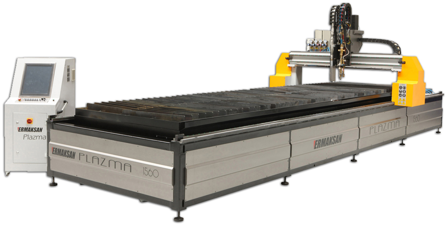 Ermak CNC plasma machine with integrated bed